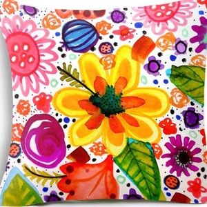 Pillow Cover-  NEW- Happy Flower Art Pillow Cover